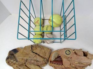 Vintage Baseball Gloves and Ball Hopper