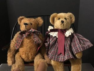 lot of 2 Stuffed Bears with Wooden love Seat