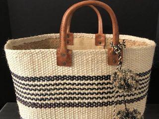 Mar Y Sol Handmade in Madagascar Tan and Black Bag