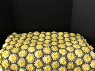 Vintage Handmade Crocheted Floral Couch Throw Blanket 4ftx6ft