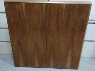 presentation board with pull down screen and dry erase board inside wood cabinet