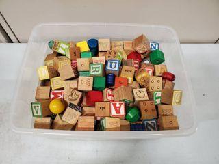 lot of Wooden Alphabet Blocks