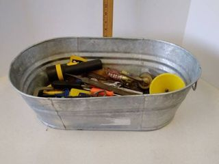 Vintage Galvanized Tub with various tools lot