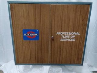 vintage Blue Streak professional tune-up services cabinet with key