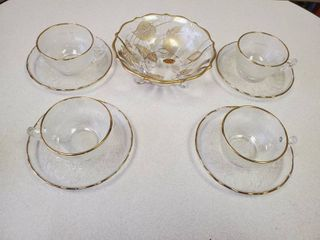 4 Piece Tea Cup and Saucer Jeannette Glass Gold Rim Harp Pattern   22k Gold on Crystal Dish