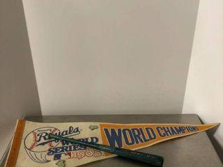 1985 Royals World Series Champions Flag with Pins and Mini Bat