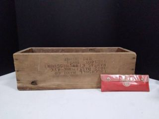 Vintage Wooden crate and wrenches