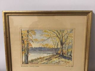 Framed Hand Painted Painting of Wyandotte County lake