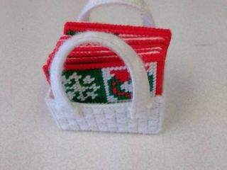 Vintage hand made Christmas holiday drink coasters