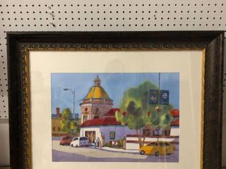 Framed Hand Painted Painting of The Plaza