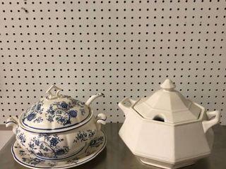 lot of 2 White Porcelain Soup Tureen