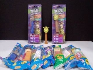 lot of SpongeBob  Shrek  and tinker bell Pez Dispenser