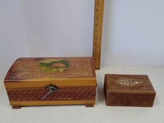 Vintage hand carved wood chests