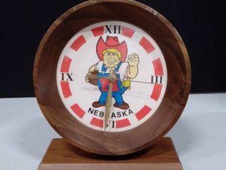 Wooden Nebraska Clock