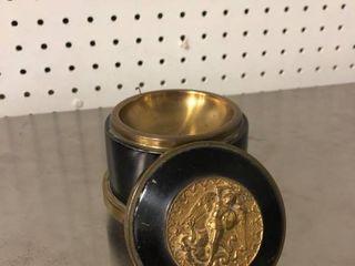 Brass Powder Puff Music Box