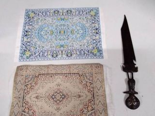 lot of miniature rugs and tribal wooden knife