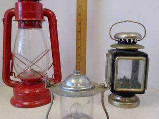 lot of lamps BurgesRadar lamp  unknown oil lamp  Sun Brand red oil lamp