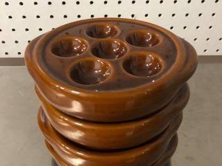 lot of 4 Escargot Snail Platters