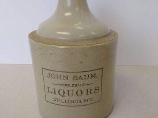 John Baum wholesale liquors stoneware jug