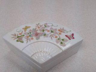 Avon fan porcelain trinket