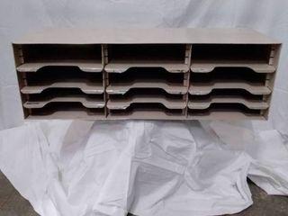 vintage metal 12 space adjustable file box