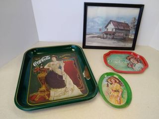Coca Cola trays and picture