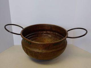 large primitive strainer colander copper pot with handles