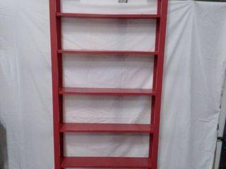 vintage tall red thin bookshelf