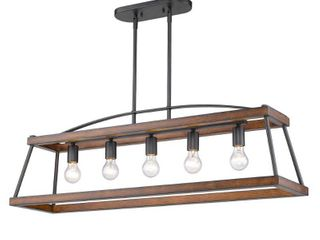 Golden lighting 3184 lP NB RO Teagan linear Pendant in Natural Black with Rustic Oak Accent