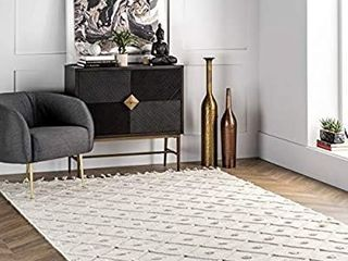 nulOOM Jinny Trellis Wool Area Rug  8  x 11  Ivory STAINED