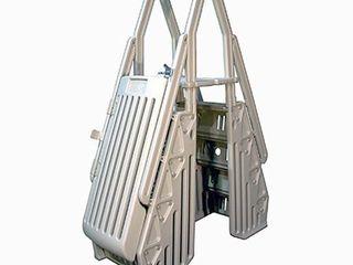 Vinyl Works AF Adjustable 24 Inch Gated Entry Above Ground Pool ladder  Taupe