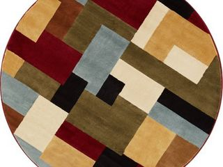 Well Woven Barclay River Modern Abstract Geometric Red 7 10  Round Area Rug