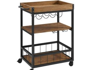 linon Austin Kitchen Cart with Wine Bottle and Glass Storage  36 inches Tall