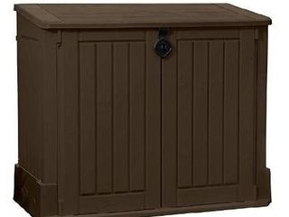 Woodland Resin Outdoor Storage Shed With Easy lift Hinges Yard Tools Toys Brown