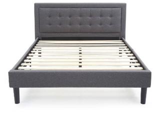 DeCoro Mornington Upholstered Platform Bed Frame   Size Full   Grey