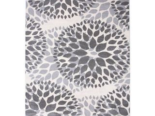 Modern Floral Design Gray 7  6  x 9 5  Indoor Area Rug