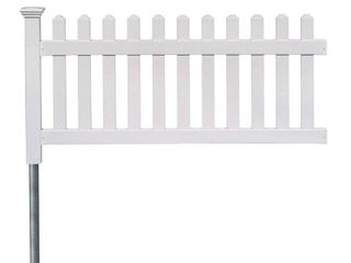 Newport Permanent Picket Fence with Post and No Dig Steel Pipe Anchor  3ft x 6ft