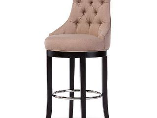 Baxton Studio WS 2076 Beige Harmony Modern   Contemporary Button Tufted Beige Fabric Upholstered Bar Stool with Metal Footrest   45 63 x 21 06 x 23 4 in