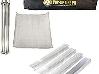 FIRESIDE OUTDOOR Pop Up Fire Pit   Portable and lightweight   Fullsize 24 Inch   Weighs 7 lbs    Never Rust Fire Pit   Heat Shield NOT Included  USED
