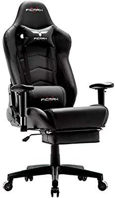 Ficmax Ergonomic Gaming Chair Massage Computer Gaming Chair Reclining Racing Office Chair with Footrest High Back Gamer Chair for E sports large size Gaming Desk Chair with Headrest and lumbar Support