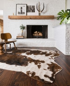 Loloi II Grand Canyon Faux Cowhide Beige / Brown Area Rug 5'x6'6