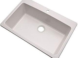 Dekor Sinks 70100Q Northampton Composite Granite Single Bowl Kitchen Sink with One Hole  33  Soft White