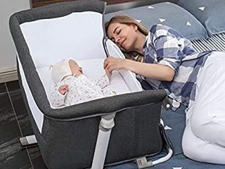Baby Bassinet RONBEI Bedside Sleeper Baby Bed to Bed Babies Crib Bed  Adjustable Portable Bed for Infant Baby Boy Baby Girl Newborn  Dark Grey