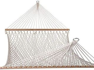 lazy Daze Hammocks Cotton Rope Double Hammock with Wood Spreader  Chains and Hooks  for Two Person  450 Pounds Capacity  Natural