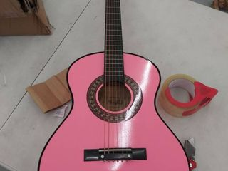 music alley model ma 34 pnk  children s pink guitar  small amount of damage