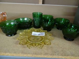 lot of Green Glassware and Yellow Glass Platter