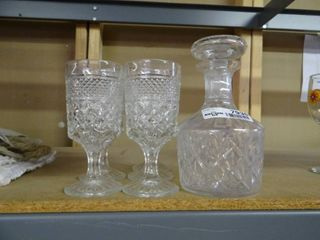 Set of 4 Cut Glass Drinking Glasses with Glass Decanter