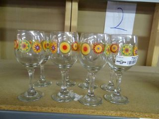 Set of 8 Wine Glasses With Floral Pattern