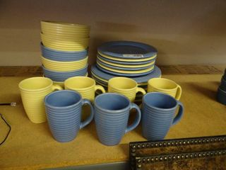Blue and Yellow Dish Set