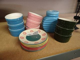 9 Ramekins  Souffle Dishes  Dessert Plates and Ceramic Canister
